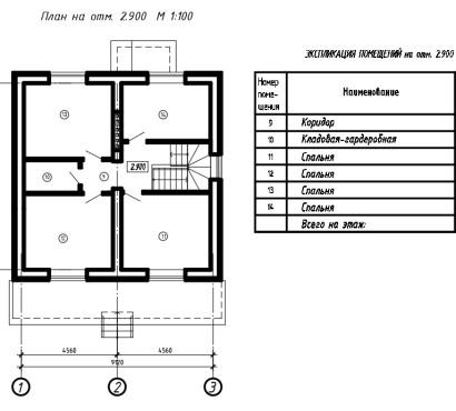 план на отм.2.900 с экспликацией